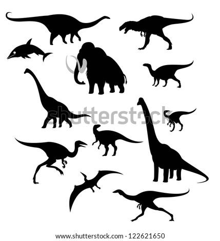 silhouettes of prehistoric animals - stock vector