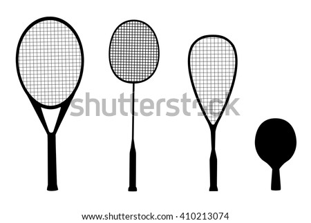 silhouettes of racquet sports - rackets for tennis, table tennis, badminton and squash - stock vector