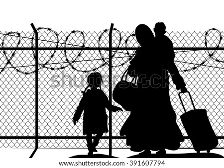 Silhouettes of refugee with two children standing at the border. Immigration religion and social theme