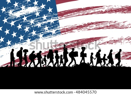 Silhouettes of refugees and migrants walking along the road with flag of the United States as a background, vector