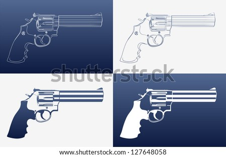Silhouettes of revolvers (4 variation) - stock vector