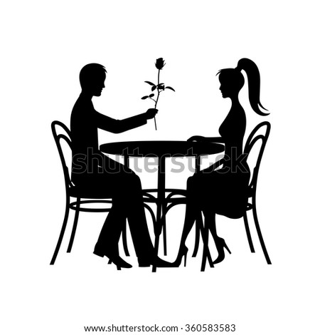 silhouettes of romantic couple in love meeting