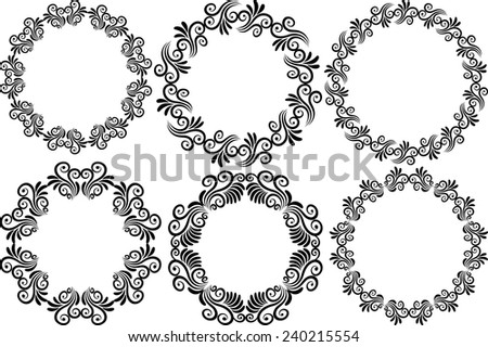 silhouettes of round frames - stock vector