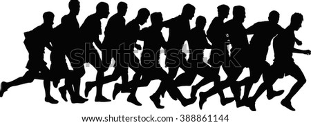 silhouettes of runners - stock vector
