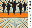 Silhouettes of runners vector in front of colorful burst background - stock vector