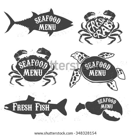 Silhouettes of salmon, tuna, sea turtles and crabs with inscriptions. Label,badge template.  Vector illustrations.
