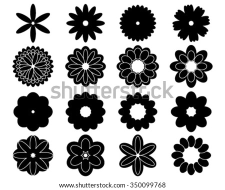 silhouettes of simple vector flowers - Simple Outline Pictures