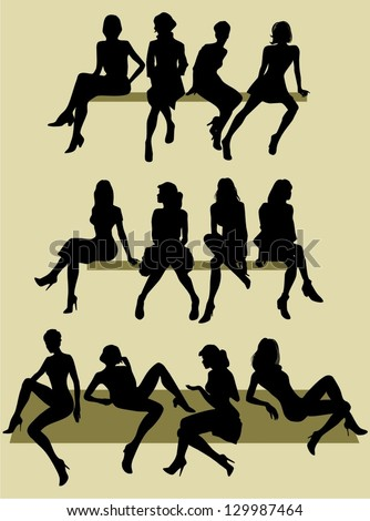 silhouettes of sitting women - stock vector
