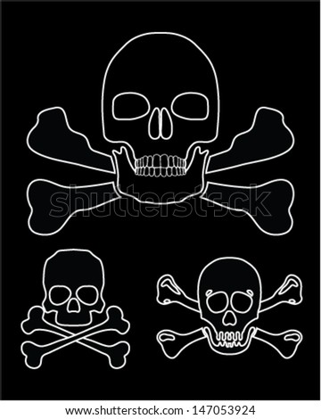 Silhouettes of skulls with crossbones 3-vector illustration
