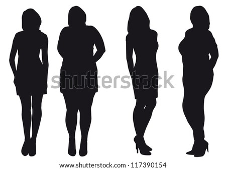 silhouettes of slip of a girl and thick. Girl a fat woman grows into the slip of a girl - stock vector