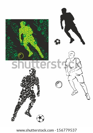 silhouettes of soccer player with ball 2