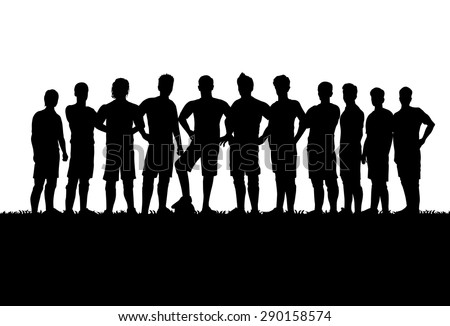 Silhouettes of soccer teams - stock vector