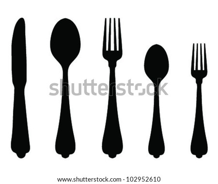 Silhouettes of spoon, fork and knife-vector