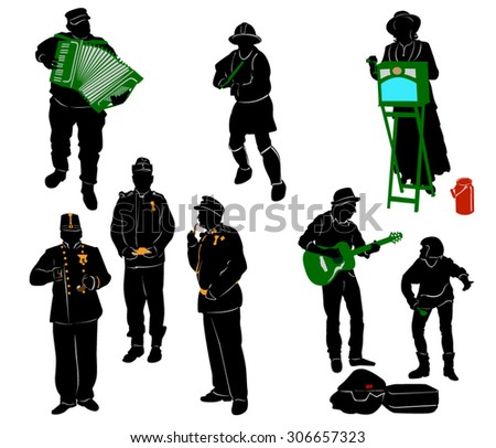 Silhouettes of street performers
