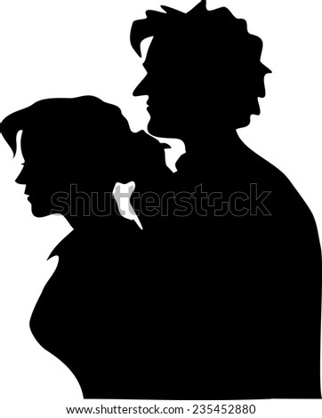 silhouettes of stuck on couple under the white background