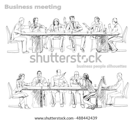 Silhouettes Successful Business People Working On Stock Vector 488442439 - Shutterstock