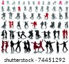Silhouettes of tango players with shadow-vector - stock vector