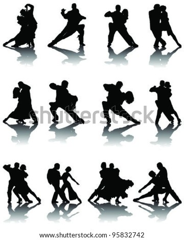 Silhouettes of tango players with shadows ,vector - stock vector