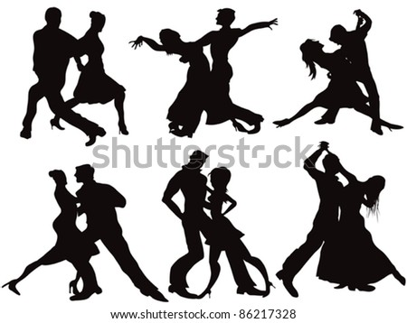 Silhouettes of the ballroom dancers - stock vector