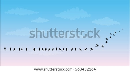 silhouettes of the birds sitting on a wire against the sky are flies, vector image