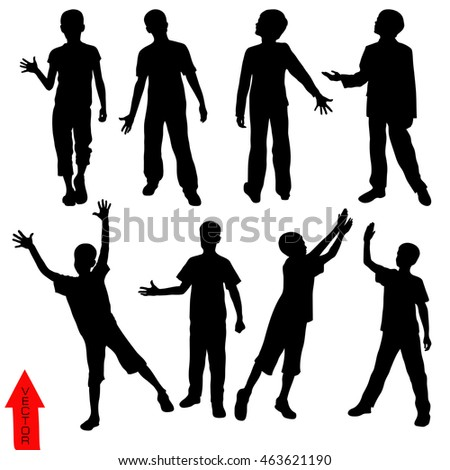 silhouettes of the boy on a white background. vector illustration