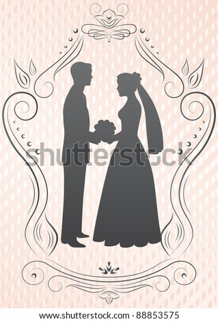 Silhouettes of the bride and groom in a frame on a pink background - stock vector