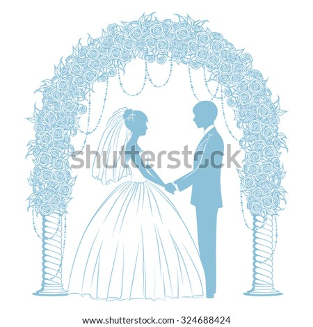 silhouettes of the bride and groom in classical dress - stock vector