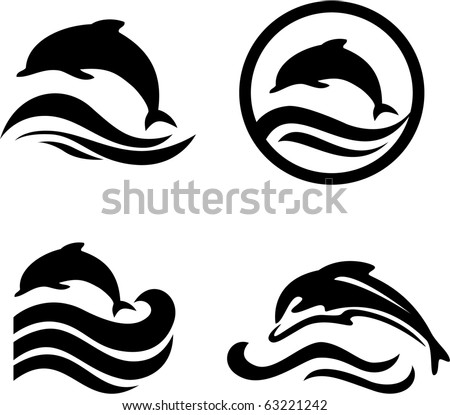Silhouettes of the dolphins jumping through a wave - stock vector