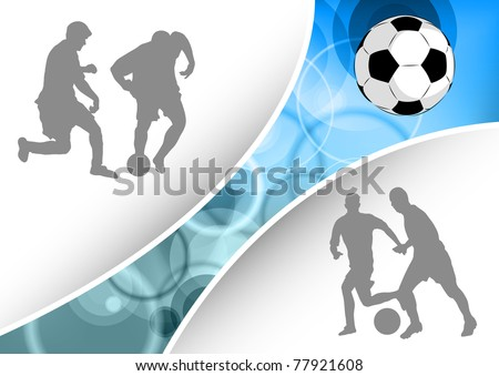 silhouettes of the football players - stock vector