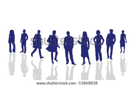 Silhouettes of the men and women on a white background