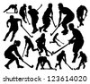 silhouettes of the players in hockey on the grass - stock vector