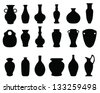 silhouettes of the vases and jars-vector - stock vector