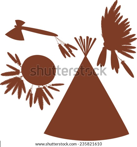 Silhouettes of thing of Indigenous peoples of the Americas - stock vector