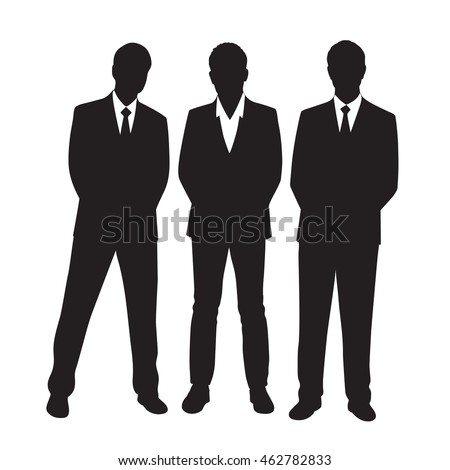 Silhouettes of three businessmen on a white background.