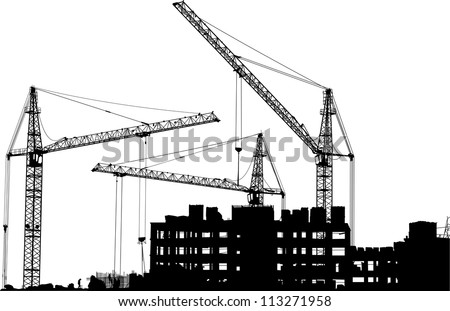 Silhouettes of three cranes working on the building - stock vector