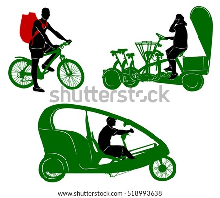 Silhouettes of tourist transportation and traveler