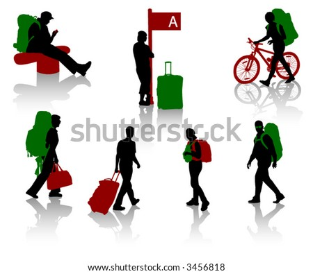 Silhouettes of tourists with luggage - stock vector