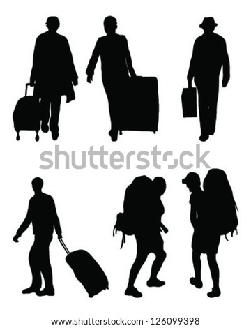 Silhouettes of travelers, vector - stock vector