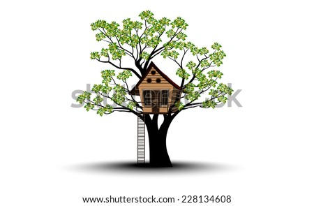 Silhouettes of Tree and House - stock vector