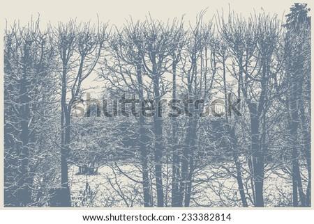 silhouettes of trimmed bushes in the park. detailed vector illustration - stock vector