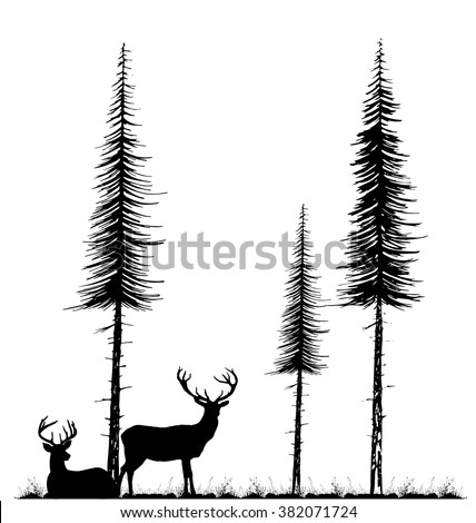 Silhouettes of two deers standing and lying under fir tree on the grass. - stock vector