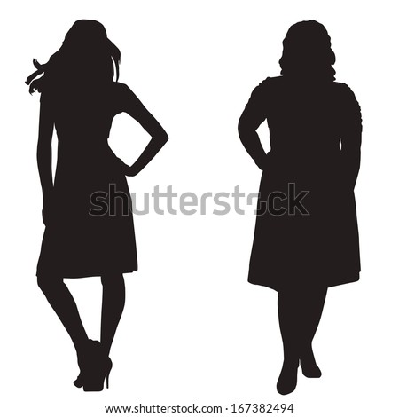 silhouettes of two girls thick and slender on a white background - stock vector