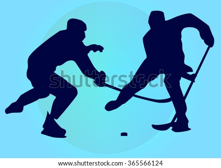 Silhouettes of two hockey sportsmen