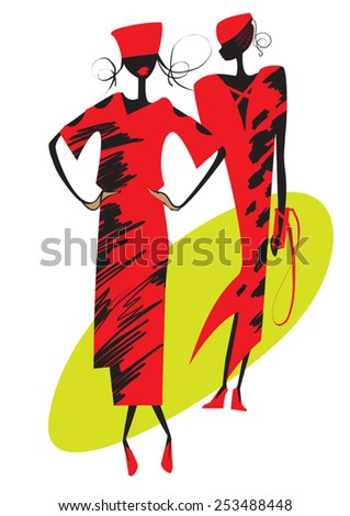 silhouettes of two models in red dress walking on the catwalk - stock vector
