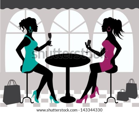 silhouettes of two women sitting at a table and raise their glasses - stock vector