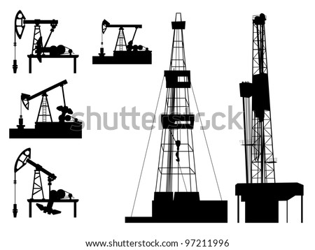 Silhouettes of units for oil industry(oil pump). - stock vector