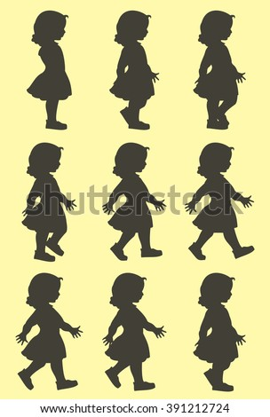 Silhouettes of walking little girl with long hairs in elegant dress. Phase of people movement in cycle for move animation.