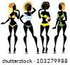 Silhouettes of 4 women, sexy girls in bikini. Isolated - stock vector