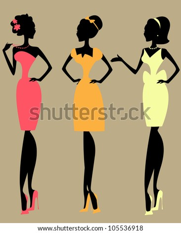 Silhouettes of 3 women, vintage fashion of 1950s, 1960s - stock vector