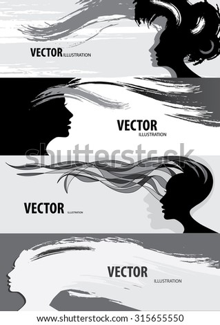 Silhouettes of women with hair style beautiful banner - stock vector